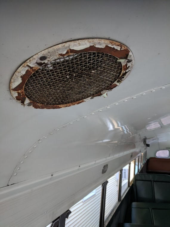 Before Photo - Antique Bus Vent needing paint touch up in Crown Ceiling Green