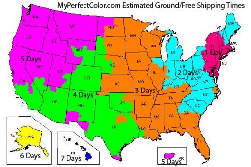 MyPerfectColor Shipping Map